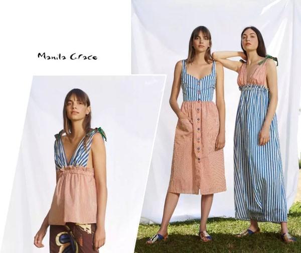 唤醒夏日 Manila Grace女装2019夏季新款条纹系列