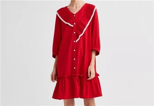 SHUIMIAO水淼女装2020春季红色连衣裙:过年就该这样红