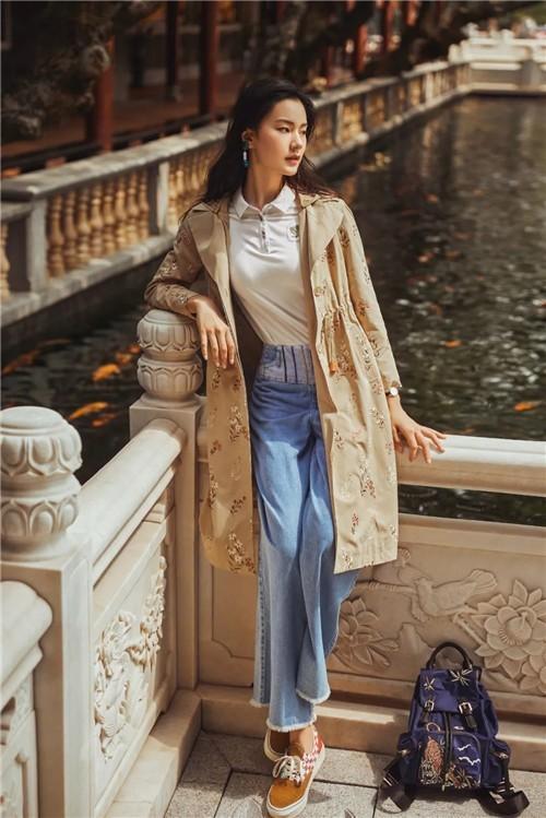 渔牌女装2020春季新款风衣搭配流行趋势