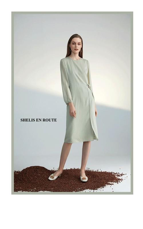 SHELIS奢睿女装2020春夏新款鼠尾草绿系列